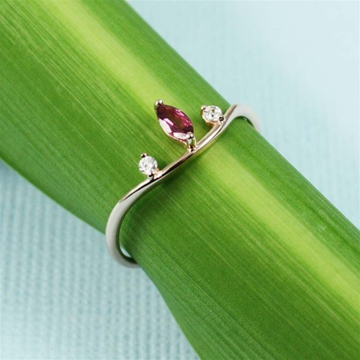 Handmade Pink Gold Pink Tourmaline & White CZ Off-Set Ring