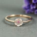 Handmade Pink Gold Rose Quartz & Ruby Flower Ring