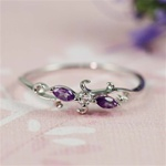 Handmade Silver Amethyst & White CZ Floral Ring