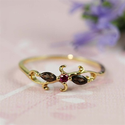 Handmade Gold Smoky Quartz & Ruby Floral Ring