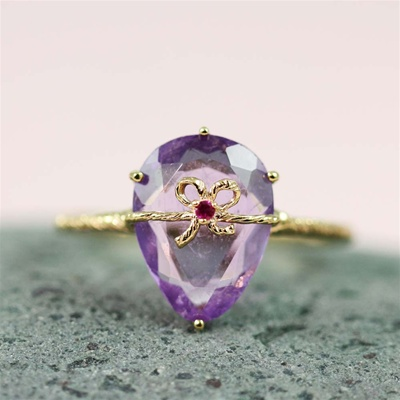 Handmade Gold Amethyst & Ruby Oval Bow Ring
