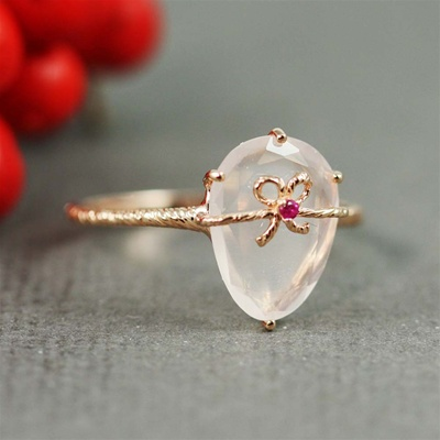 Handmade Pink Gold Rose Quartz & Ruby Oval Bow Ring