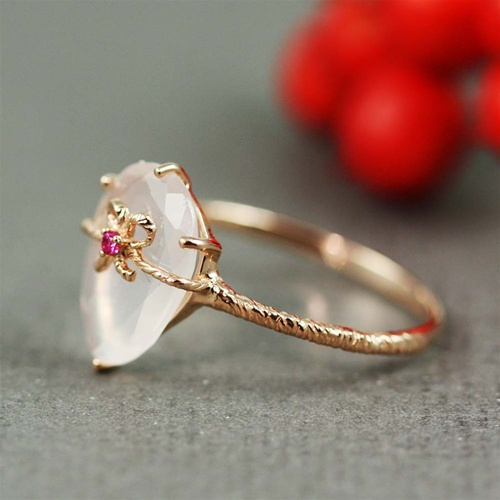 Handmade Pink Gold Rose Quartz Amp Ruby Oval Bow Ring