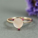 Handmade Pink Gold Rough Rose Quartz & Ruby Ring
