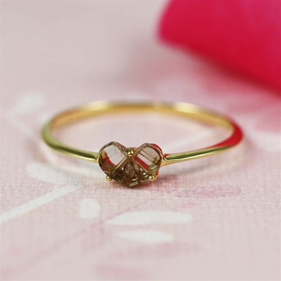 Handmade Gold Smoky Quartz & White CZ Heart Ring