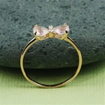Handmade Pink Gold Rose Quartz & White CZ Bow Ring