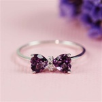 Handmade Silver Amethyst & White CZ Bow Ring