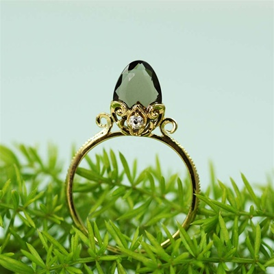 Handmade Gold Smoky Quartz & White CZ Arrow Ring