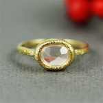 Handmade Gold Rough Rose Quartz & White CZ Oval Ring
