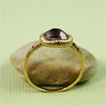 Handmade Gold Rough Amethyst & Ruby Oval Ring