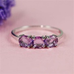 Handmade Silver Three Amethyst Band Ring