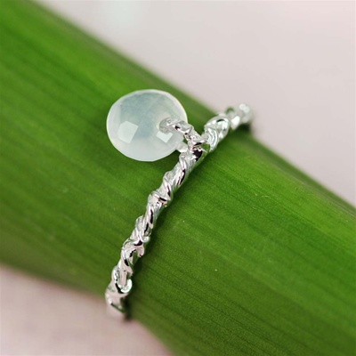 Handmade Silver Aqua Chalcedony Dangle Ring