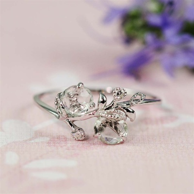 Handmade Silver Green Amethyst & White CZ Floral Ring
