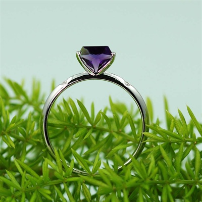 Handmade Silver Amethyst & White CZ Diamond Ring