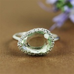 Handmade Silver Green Amethyst & White CZ Oval Ring