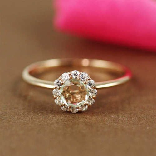 a666fafb0abf9 Handmade Pink Gold Green Amethyst & White CZ Flower Ring