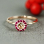 Handmade Pink Gold White Quartz & Ruby Flower Ring