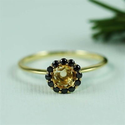 Handmade Gold Citrine & Black CZ Flower Ring