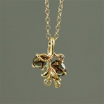 Handmade Gold Smoky Quartz Floral Necklace