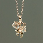 Handmade Pink Gold Rose Quartz Floral Necklace