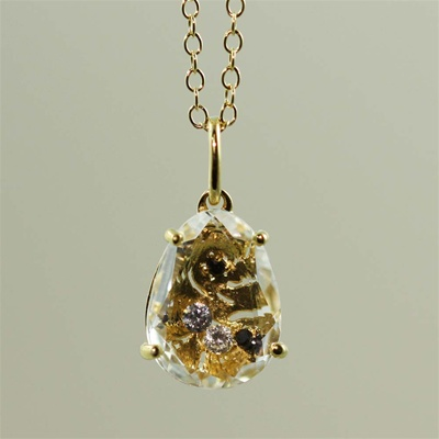 Handmade Gold Oval White Quartz & White CZ Necklace