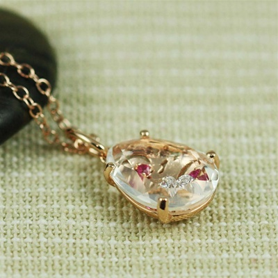 Handmade Pink Gold Oval White Quartz, Ruby & White CZ Necklace