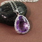 Handmade Silver Oval Amethyst & White CZ Necklace