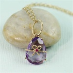 Handmade Gold Oval Amethyst & Ruby Bow Necklace