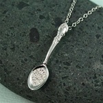 Handmade Sterling Silver White CZ Spoon Necklace