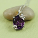 Handmade Sterling Silver Oval Amethyst Floral Necklace
