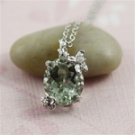 Handmade Sterling Silver Oval Green Amethyst Floral Necklace
