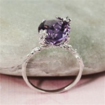Handmade Sterling Silver Oval Amethyst Floral Ring