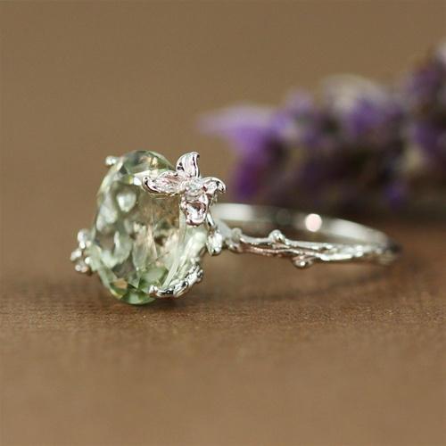Handmade Sterling Silver Oval Green Amethyst Floral Ring