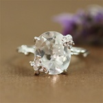 Handmade Sterling Silver Oval White Quartz Floral Ring