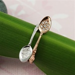 Handmade Sterling Silver Two Tone Stacking CZ Spoon Ring