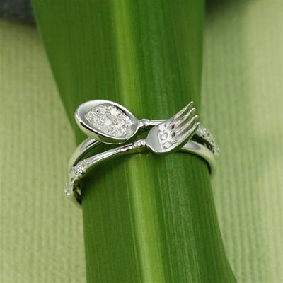 Handmade Sterling Silver Stacking Fork and Spoon Ring