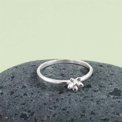 Silver Flower Stackable Ring