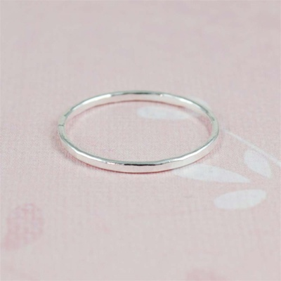 Silver Hammered Stackable Ring