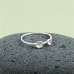 Silver Double Dish Stackable Ring