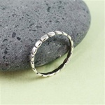 Silver Oval Black Touch Stackable Ring