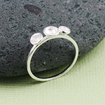 Silver Three Dish Stackable Ring