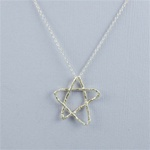 Hammered Large Silver Star Necklace