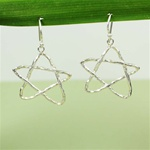 Hammered Large Silver Star Earrings