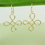 Hammered Large Gold Knot Earrings