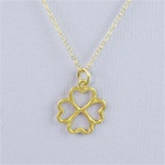 Hammered Gold Clover Necklace