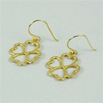 Hammered Gold Clover Earrings
