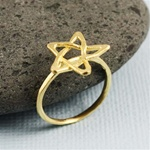 Hammered Gold Star Ring
