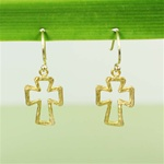 Hammered Gold Cross Earrings