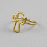 Hammered Gold Cross Ring