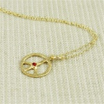 Hammered Gold Red Stone Peace Sign Necklace
